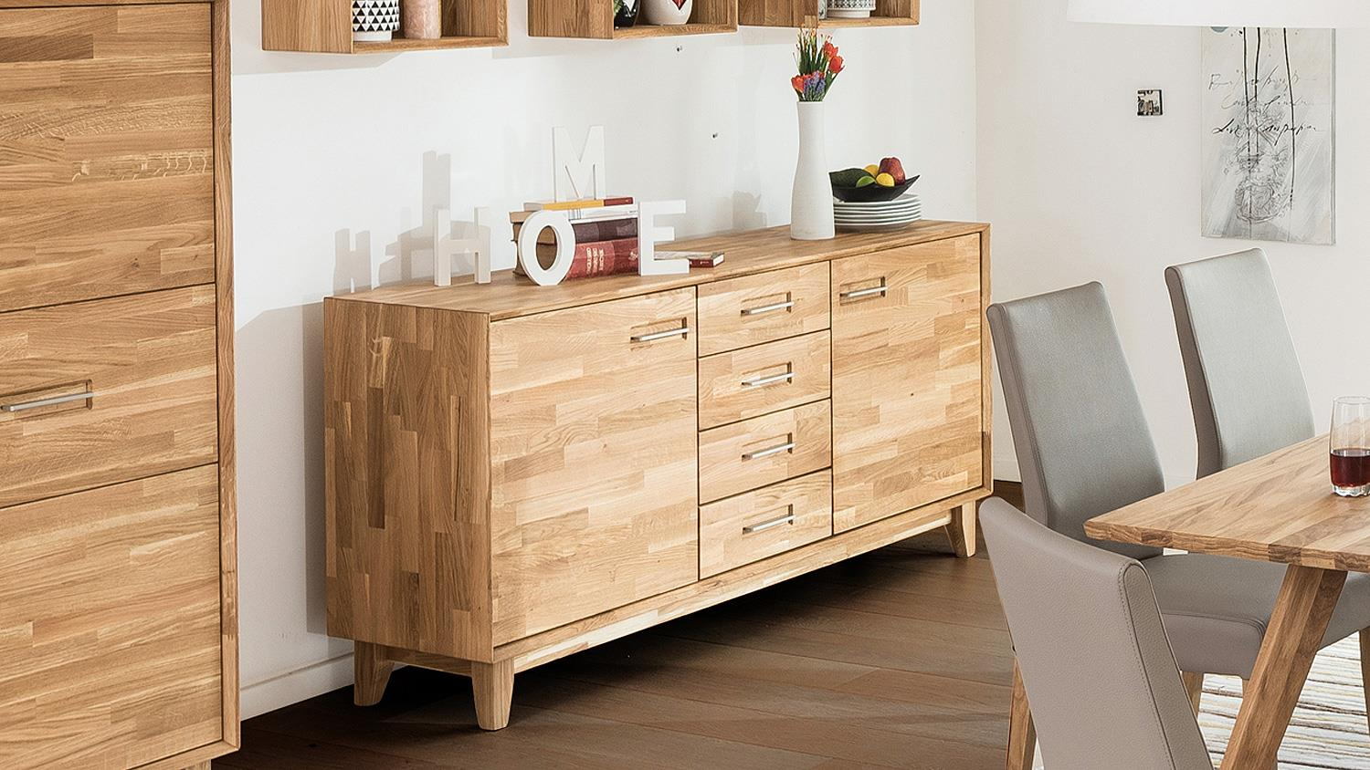 Sideboard 2 Numero Uno Eiche Natur Massiv Geolt Soft Close