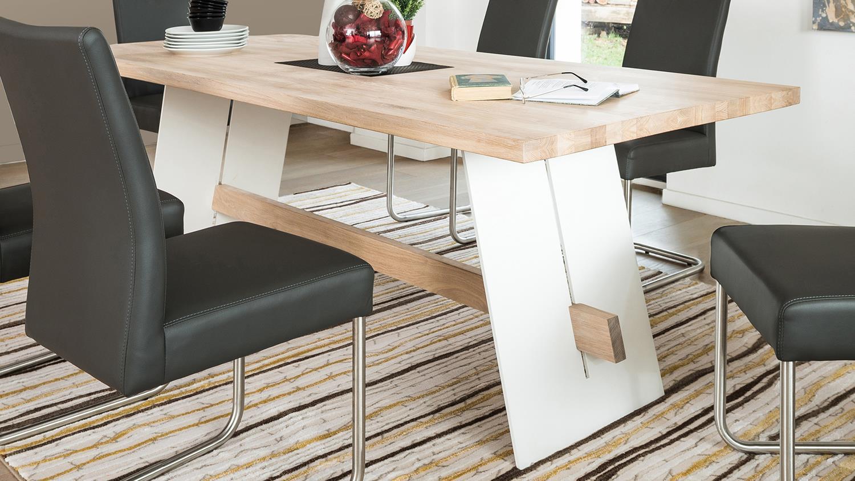 Esstisch wildeiche bianco  Esstisch ALADIN in Eiche Bianco und weiß Tisch 180x90 cm