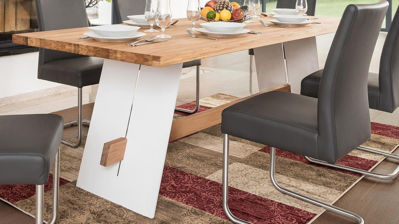 Esstisch Aladin Tisch 180x90 Cm In Eiche Natur Und Weiss