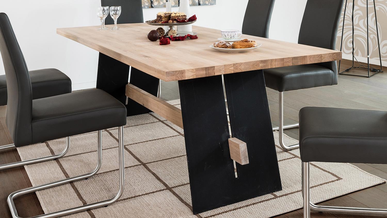 esstisch aladin eiche bianco und schwarz tisch 180x90 cm. Black Bedroom Furniture Sets. Home Design Ideas