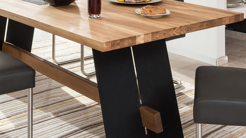 Esstisch Aladin Tisch Eiche Natur Und Schwarz 200x100 Cm