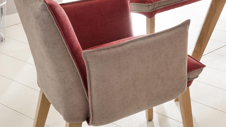 Sessel genua 1 esszimmerstuhl in stoff rot beige und eiche for Sessel beige stoff