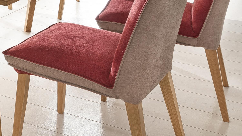 stuhl genua 1 sitzbank in eiche natur und stoff rot beige. Black Bedroom Furniture Sets. Home Design Ideas