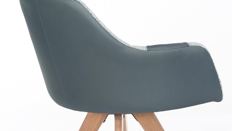 Sessel Rimini Stuhl In Eiche Natur Bezug Grau Blau