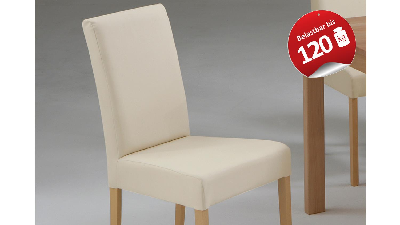 Stuhl IVONNE Polsterstuhl Buche Massiv Und Beige Bis 120kg