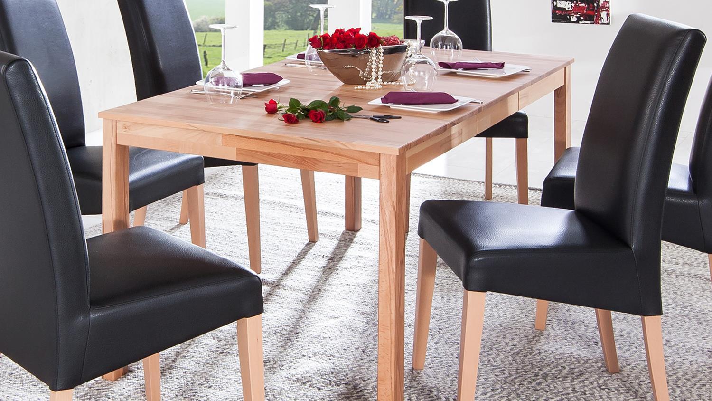 essgruppe emanuela xl ausziehtisch polsterstuhl rudi schwarz und buche massiv. Black Bedroom Furniture Sets. Home Design Ideas