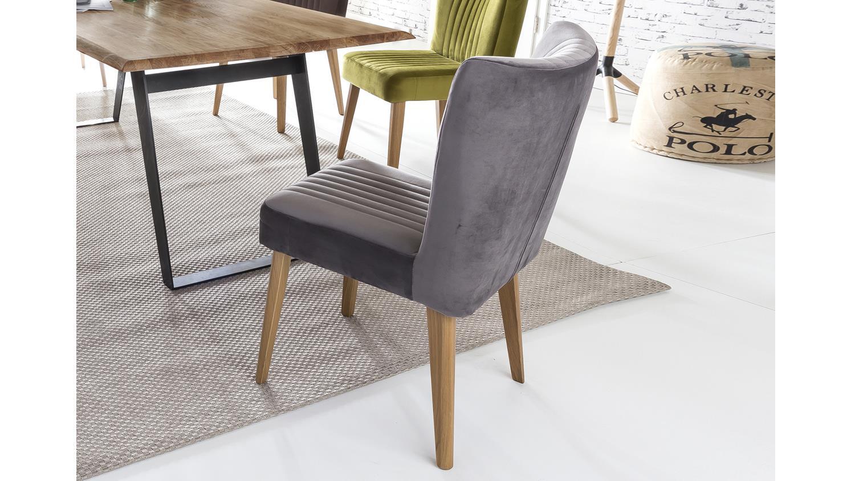 Stuhl jan polsterstuhl in stoff grau und eiche natur for Polsterstuhl grau