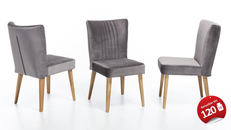 Essgruppe lynn eiche massiv 1x bank 4x stuhl in grau - Stuhl grau eiche ...