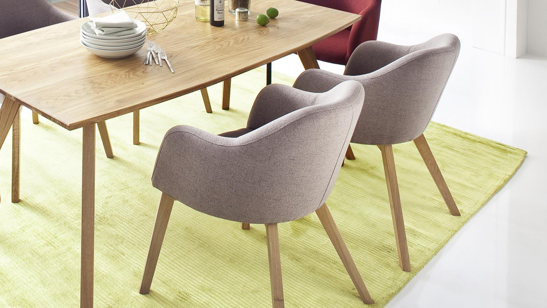 systemsessel theo 4 fu stuhl stoff taupe und eiche natur. Black Bedroom Furniture Sets. Home Design Ideas