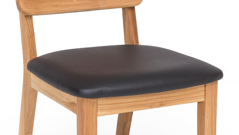 stuhl norman 3 esszimmerstuhl leder schwarz eiche natur massiv ge lt. Black Bedroom Furniture Sets. Home Design Ideas