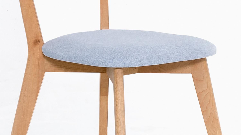 NOCI 1 Stuhl Stuhlsystem Kernbuche massiv Stoff hellblau