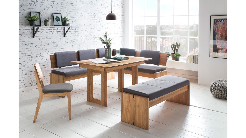 eckbank stockholm eiche natur massiv ge lt stoff grau truhe 192x167 cm. Black Bedroom Furniture Sets. Home Design Ideas