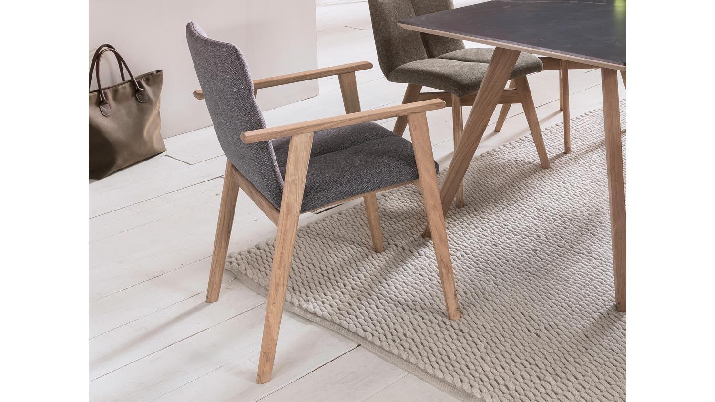 armlehnstuhl arona stuhl stoff grau und eiche bianco. Black Bedroom Furniture Sets. Home Design Ideas
