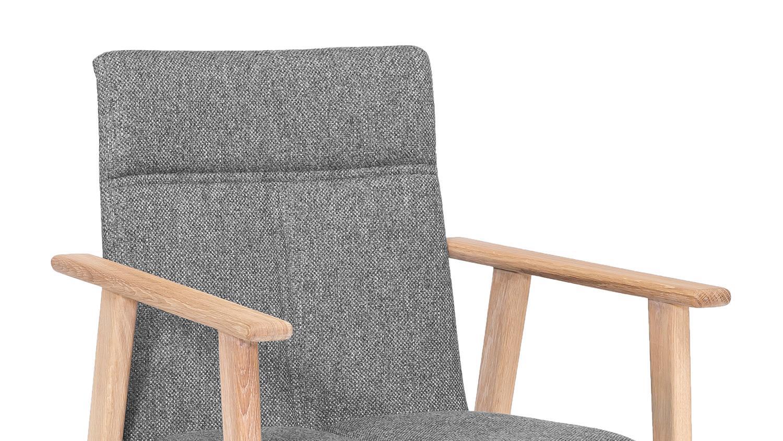 armlehnstuhl arona stuhl stoff grau und eiche bianco massivholz ge lt. Black Bedroom Furniture Sets. Home Design Ideas