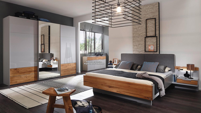 Schlafzimmer LAVANT Schrank Bett Nachtkommode in grau Asteiche massiv