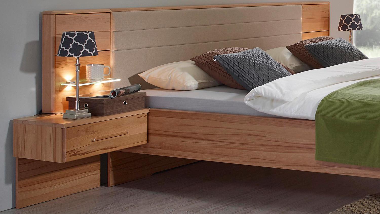 Schlafzimmer MISAO Schrank Bett Nako Kernbuche massiv creme Hochglanz