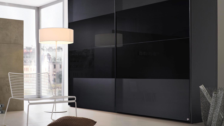 Schwebeturenschrank 20up Kleiderschrank In Schwarz Matt Glas 280 Cm