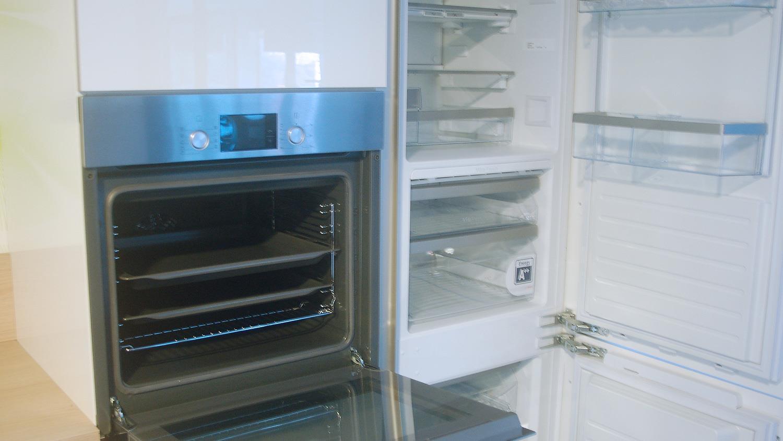 Schüller küchen weiß hochglanz  Einbauküche Schüller Ausstellungsküche Küche weiß Hochglanz Eiche ...