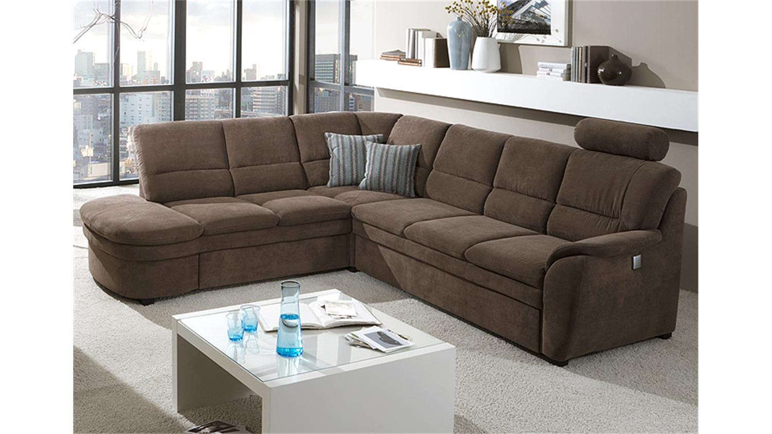 Ecksofa braun  links GINGER Sofa in braun mit Bettfunktion
