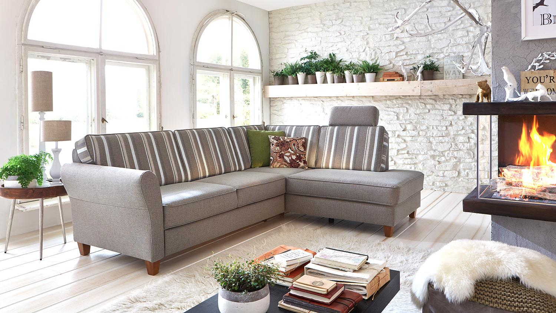 Ecksofa baltrum sofa wohnlandschaft in beige landhaus 247 for Wohnlandschaft in beige