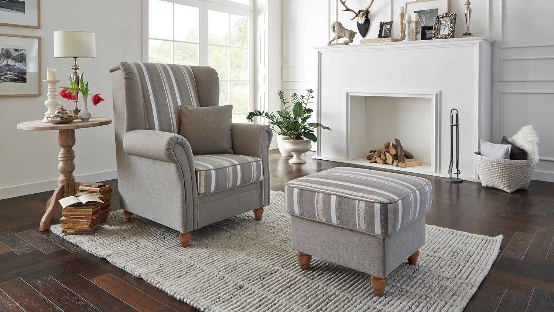 hocker f hr polsterhocker polsterm bel beige landhaus 59. Black Bedroom Furniture Sets. Home Design Ideas