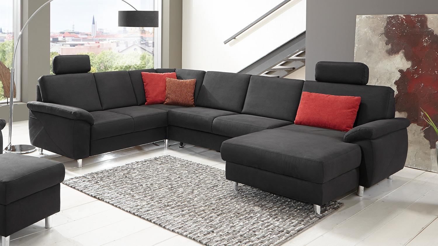 wohnlandschaft winston ecksofa sofa polsterm bel anthrazit. Black Bedroom Furniture Sets. Home Design Ideas