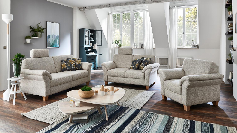 Sofa Borkum 2 Sitzer In Stoff Natur Mit Federkern 156 Cm