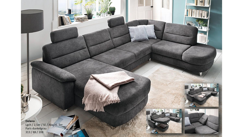 wohnlandschaft delano u form ecksofa stoff dunkelgrau grau. Black Bedroom Furniture Sets. Home Design Ideas
