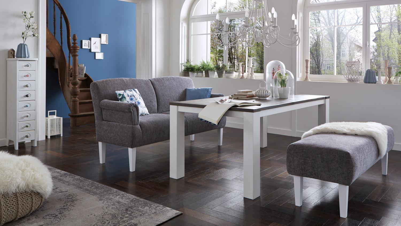 sofa paisley 3 sitzer in stoff grau wei federkern. Black Bedroom Furniture Sets. Home Design Ideas