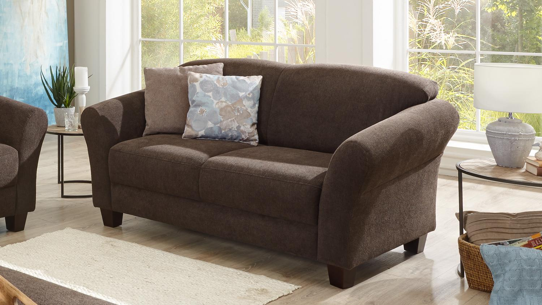 sofa gotland 2 sitzer couch stoff espresso braun inkl federkern 163 cm. Black Bedroom Furniture Sets. Home Design Ideas