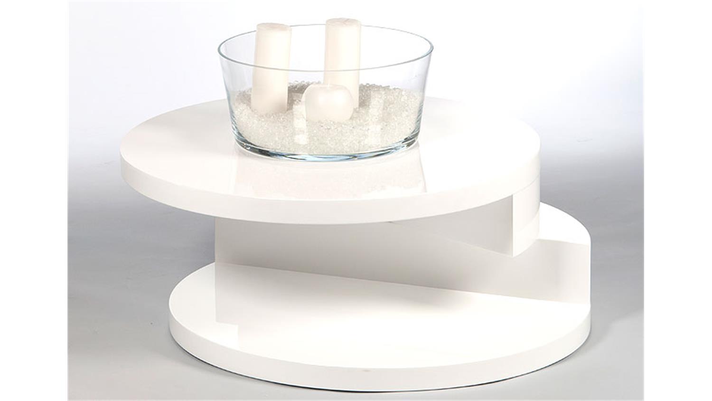 Couchtisch rondell mit drehfunktion wei hochglanz lack for Couchtisch hochglanz