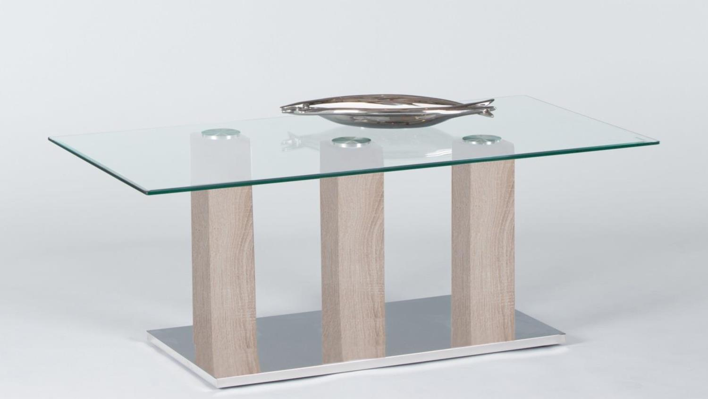 Couchtisch Sonoma Eiche Glas ~ Couchtisch TOWERS Beistelltisch Wohnzimmertisch Glas Sonoma Eiche 110