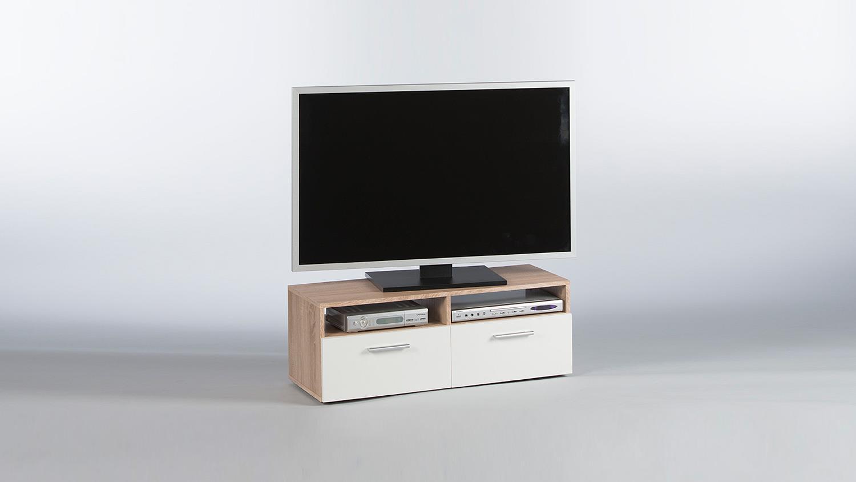 lowboard rana tv board unterschrank in sonoma eiche und wei 95 cm. Black Bedroom Furniture Sets. Home Design Ideas