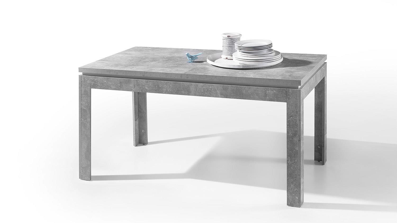 Esstisch STONE Tisch Beton Optik grau und weiß Hochglanz 140