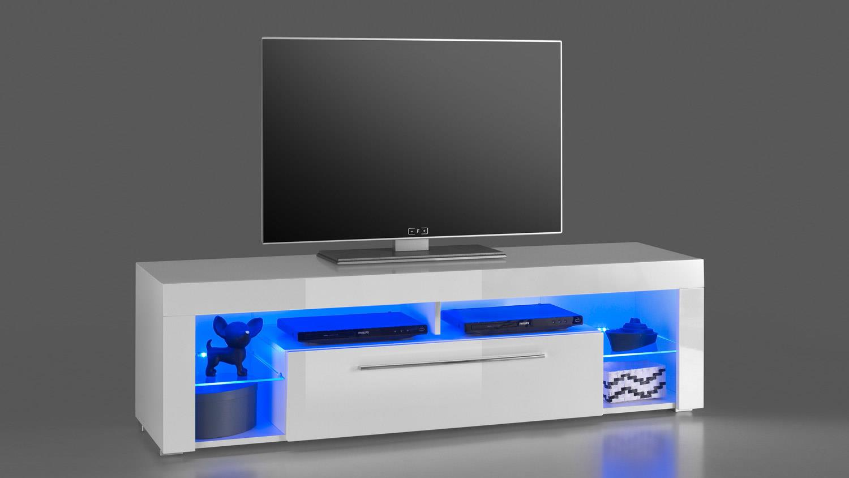 tv board goala 1 lowboard mdf wei hochglanz inkl led. Black Bedroom Furniture Sets. Home Design Ideas