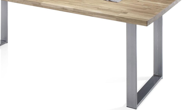 Esstisch samuel tisch in eiche massiv und metall anthrazit for Esstisch hochwertig