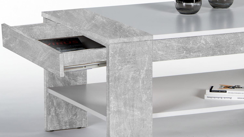 couchtisch finley plus in betonoptik wei mit 1 schubkasten 100x58 cm. Black Bedroom Furniture Sets. Home Design Ideas