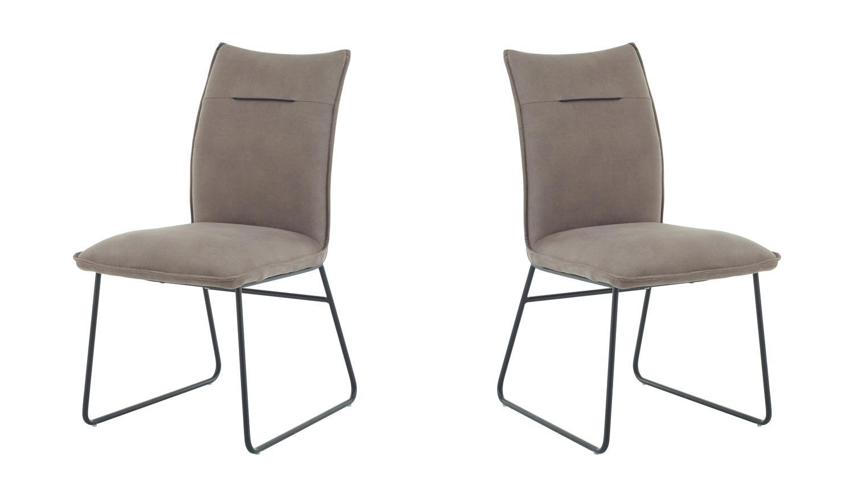 Polsterstuhl BETTY 2er Set Stuhl Stoff taupe grau und Metall