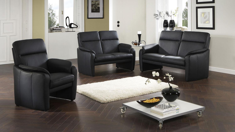 garnitur 3 2 1 bornholm echtleder schwarz nosagfederung. Black Bedroom Furniture Sets. Home Design Ideas