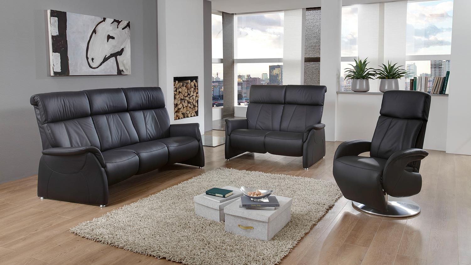 sofa magic relaxx 2 sitzer echtleder schwarz nosagfederung. Black Bedroom Furniture Sets. Home Design Ideas