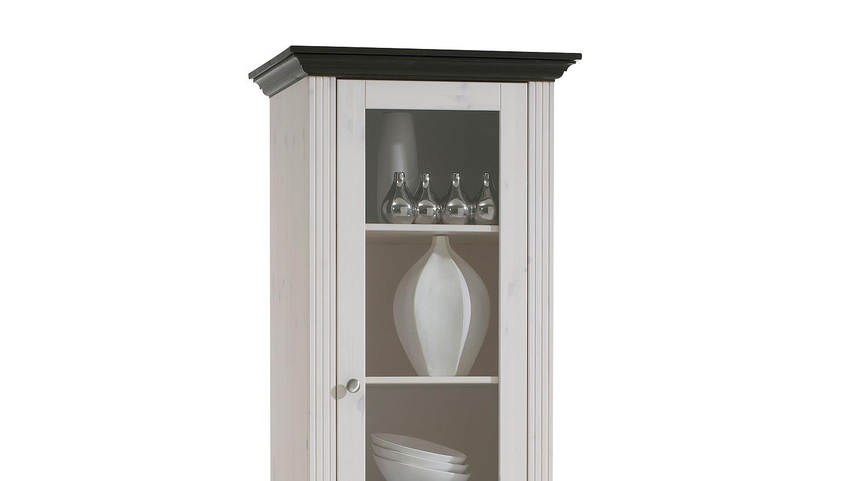 vitrine monaco kiefer massiv wei white wash kolonial. Black Bedroom Furniture Sets. Home Design Ideas