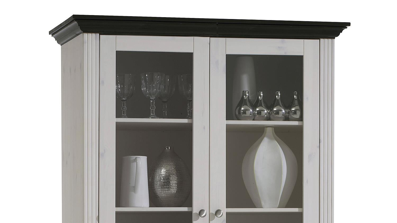vitrine monaco kiefer massiv wei white wash kolonial 104 cm. Black Bedroom Furniture Sets. Home Design Ideas