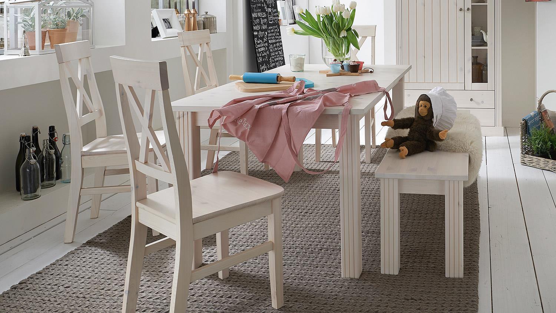 esstisch monaco kiefer massiv wei white wash ausziehbar. Black Bedroom Furniture Sets. Home Design Ideas