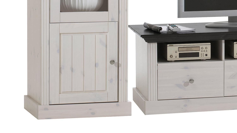 wohnwand monaco kiefer massiv wei white wash kolonial. Black Bedroom Furniture Sets. Home Design Ideas