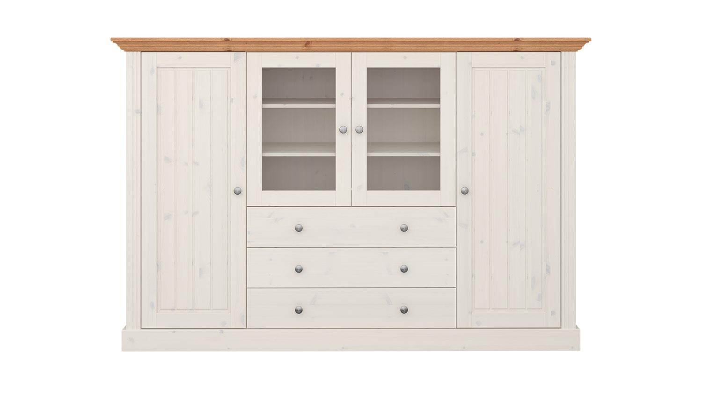 highboard monaco kiefer massiv wei white wash provence. Black Bedroom Furniture Sets. Home Design Ideas