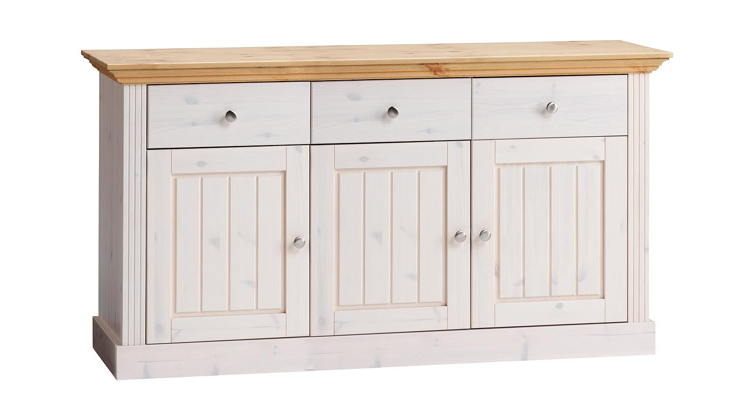 Sideboard monaco kiefer massiv wei white wash gelaugt for Sideboard kiefer