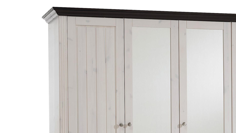 kleiderschrank monaco kiefer massiv white wash kolonial b. Black Bedroom Furniture Sets. Home Design Ideas