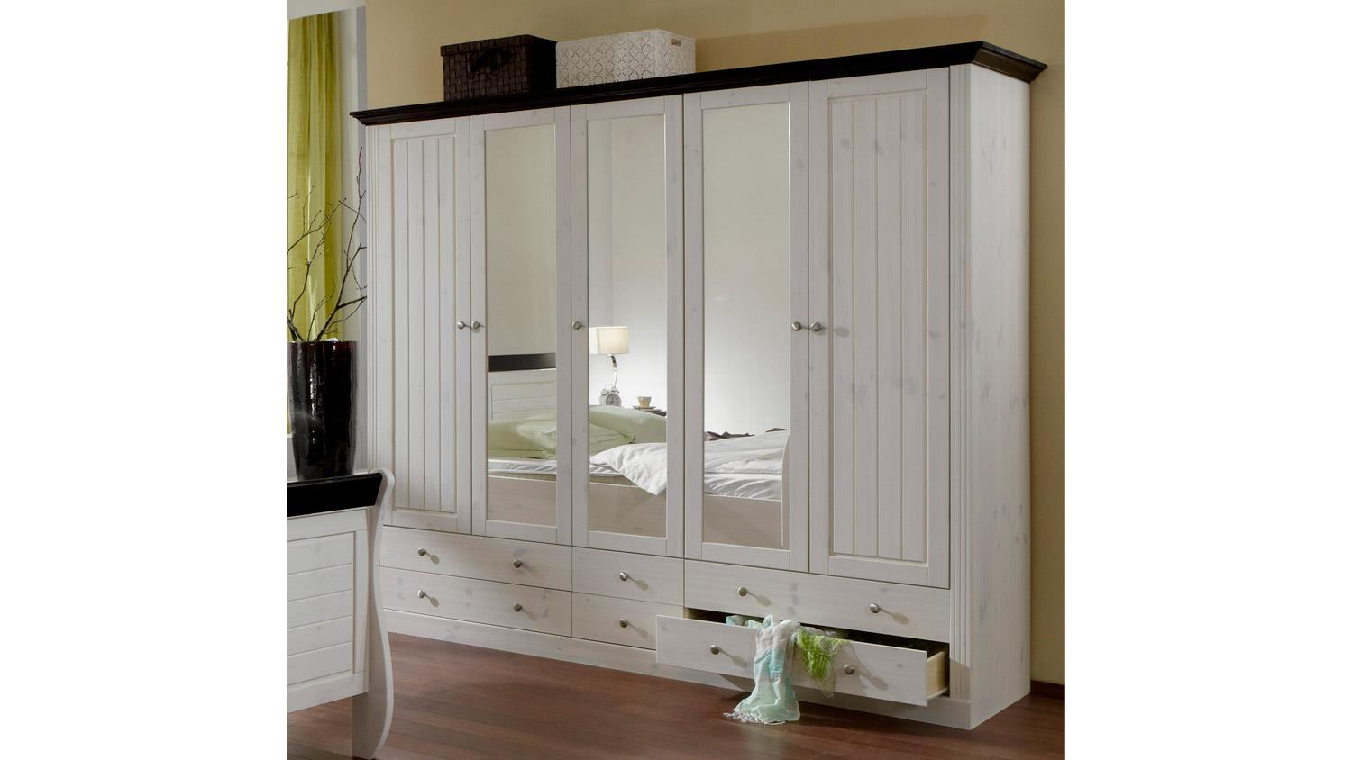 kleiderschrank monaco kiefer massiv white wash kolonial b. Black Bedroom Furniture Sets. Home Design Ideas