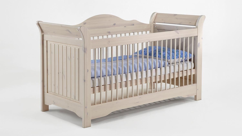 babybett lotta kiefer masssiv wei white wash 70x140 cm. Black Bedroom Furniture Sets. Home Design Ideas