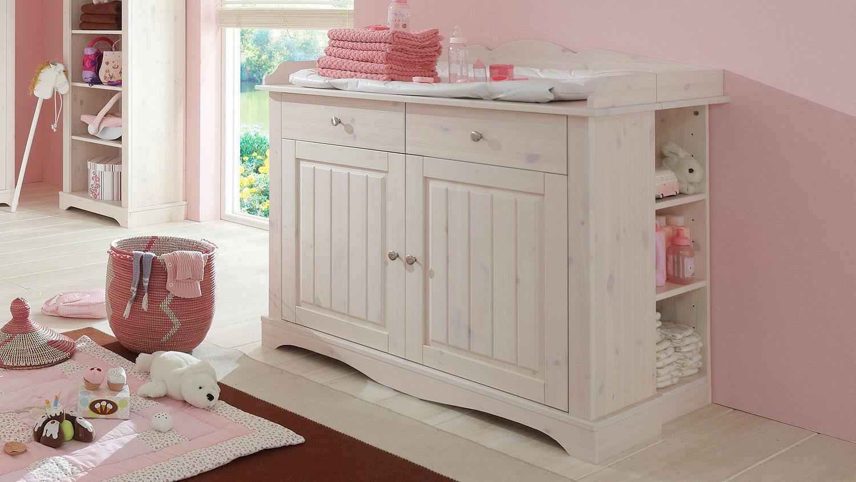 Babyzimmer Lotta Kiefer Masssiv Weiss White Wash 4 Teilig